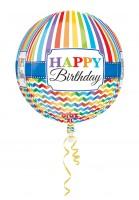 Rainbow Birthday Orbz Ballon 38 x 40cm
