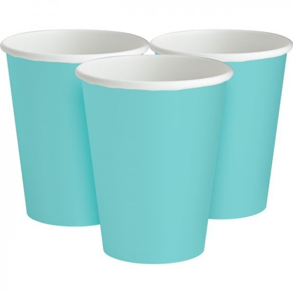 20 vasos de papel de color pastel turquesa 266ml