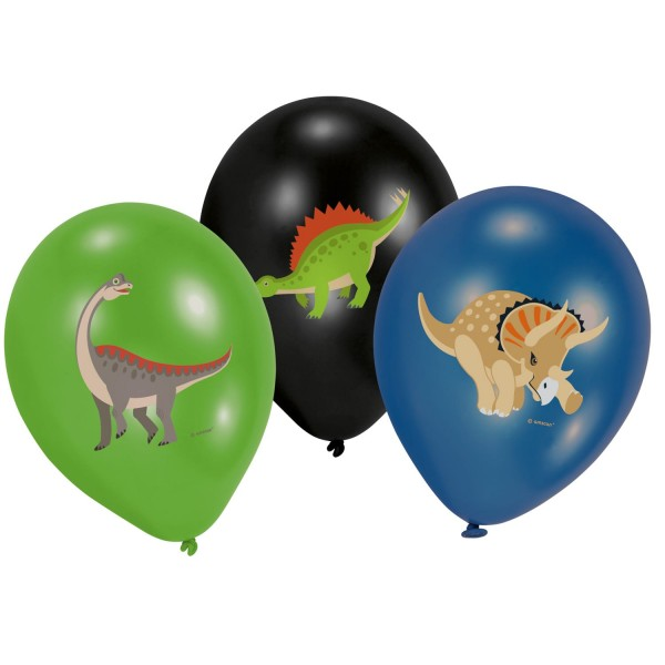 6 Happy Dinosaur Luftballons 28cm