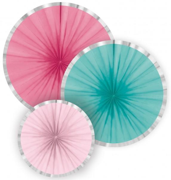 3 Flamingo Paradise paper rosettes