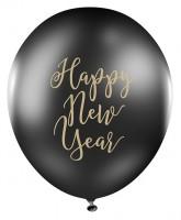 6 globos negros Happy New Year 30cm