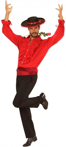 Chemise espagnole à volants Carlos rouge