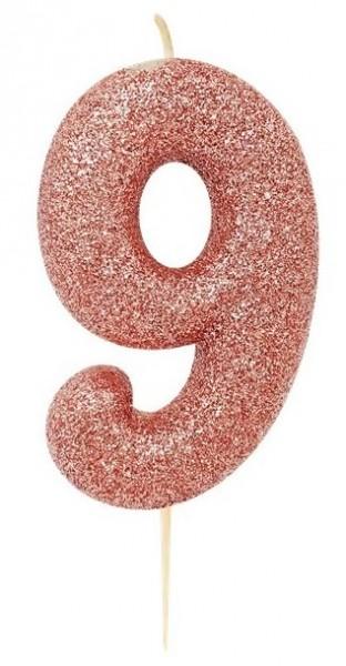 Błyszcząca świeca numer 9 w kolorze różowego złota 7cm