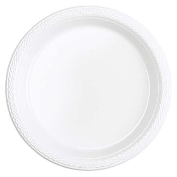 10 plastic plates Mila white 17.7cm