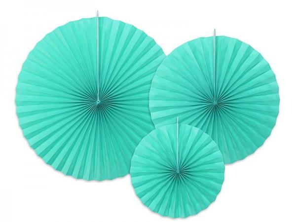 3 rosetas de papel Elenor turquesa