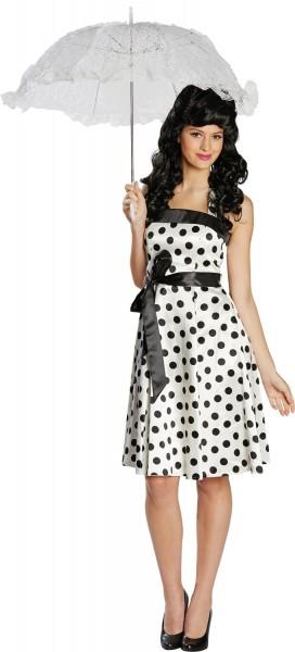 50er Jahre Kleid Weiß-Schwarz mit Gürtel