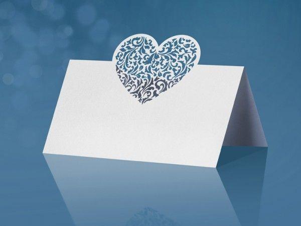10 Tischkarten mit Herzornament 9 x 6,5cm 3