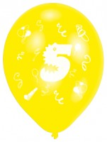 10er Set Zahl 5 Luftballons