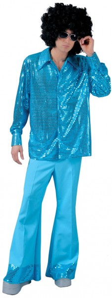 Blue party fever sequin shirt