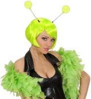 Buitenaardse hoofdband met neon groene antennes