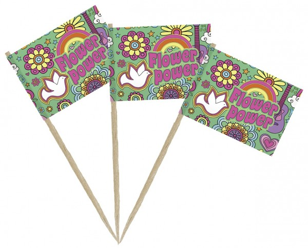 50 Flower Power Flaggen Party Spieße 8cm