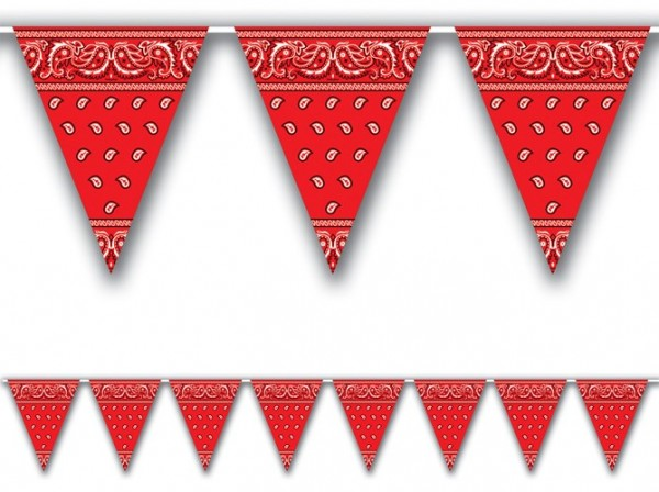 Rote Western Bandana Wimpelkette 370 cm