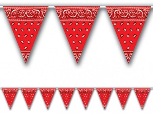 Chaîne fanion bandana western rouge 370 cm