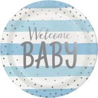 8 Welcome Baby Boy Pappteller 23cm