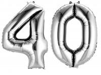 Folienballon Zahl 40 silber metallic 86cm