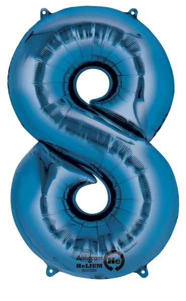 Zahlenballon 8 Blau 83cm