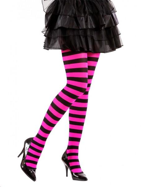 Strumpfhose Pink-Schwarz geringelt 70 DEN