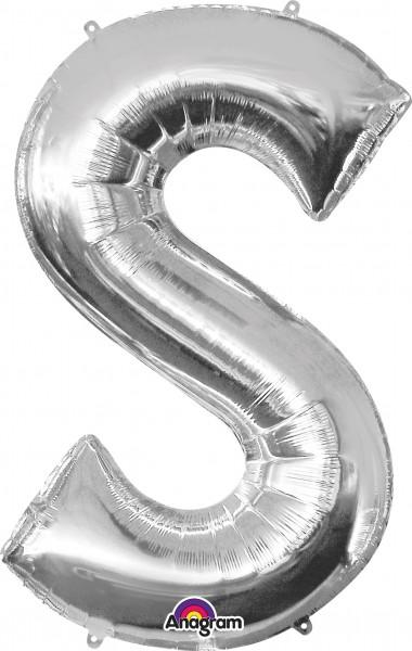 Folieballon letter S zilver 88cm