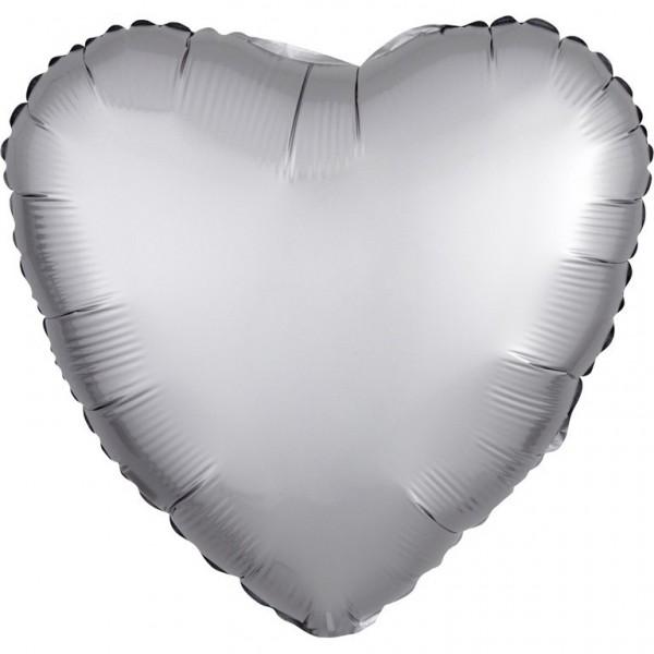 Heart foil balloon Luxe Silver satin look