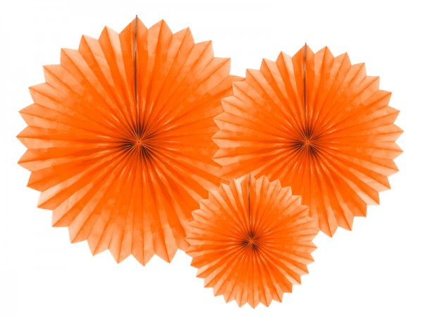 3 Papierrosetten Partystar orange