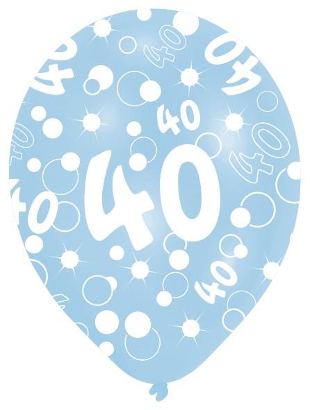 6 Luftballons Bubbles 40.Geburtstag Bunt 27,5cm 4