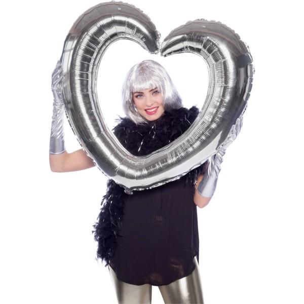 Silberner Herz Fotorahmen 80 x 70cm 1