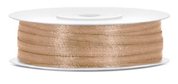 50m satin gift ribbon light gold 3mm wide