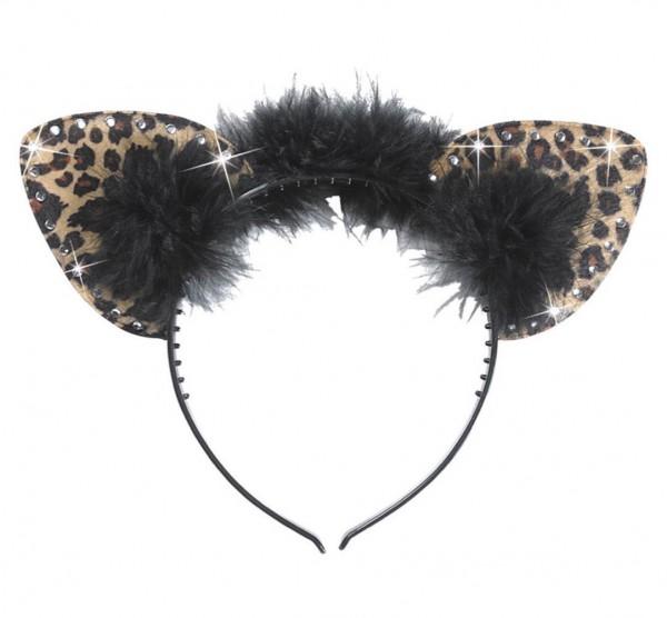 Leoro Haarreif Mit Strass Leoparden Ohren