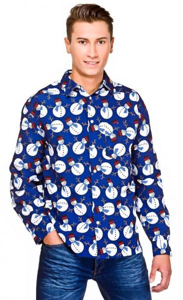 Blue winterland snowman shirt