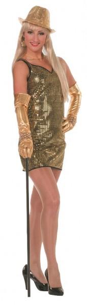 Disco Kleid Paillettenparty Gold