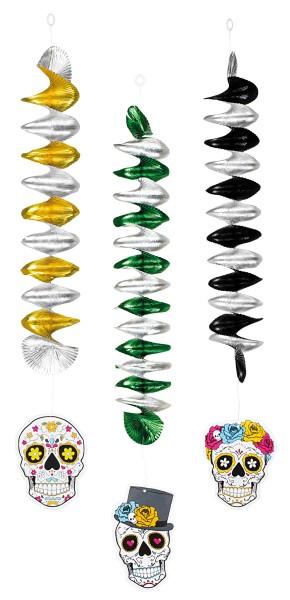 3 espirales de decoración el Día de los Muertos 60cm
