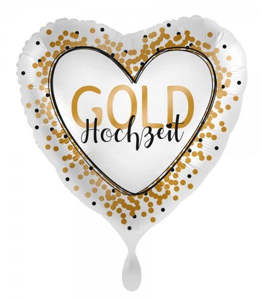 Gold Hochzeit Herz Folienballon 71cm