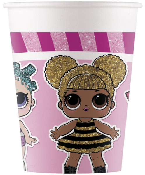 6 vasos de papel LOL Glam Girls 200ml