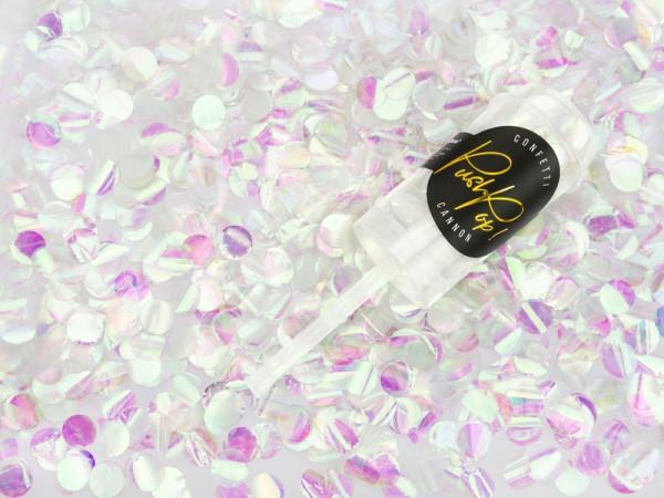 Fête du canon à confettis sur holographique