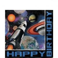 16 Weltraum Geburtstags-Servietten 33cm