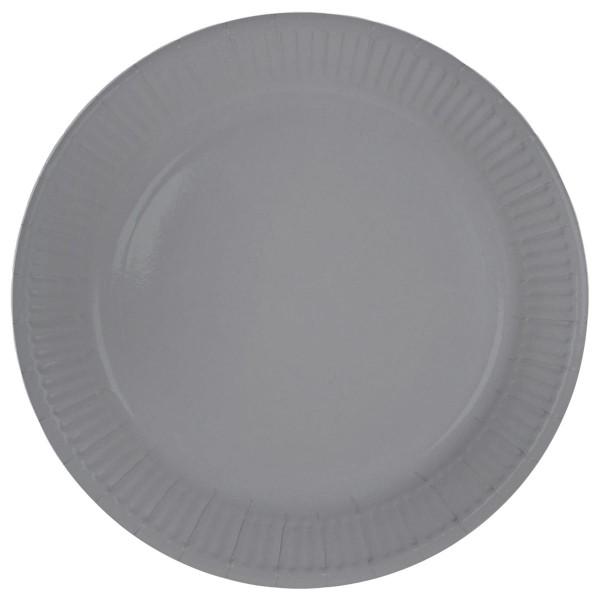 8 platos de papel Cleo plateado 23cm