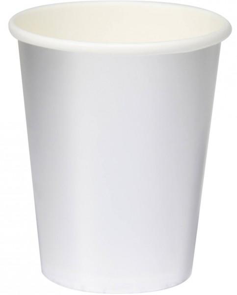 8 Paper Cups Silver Metallic 350ml