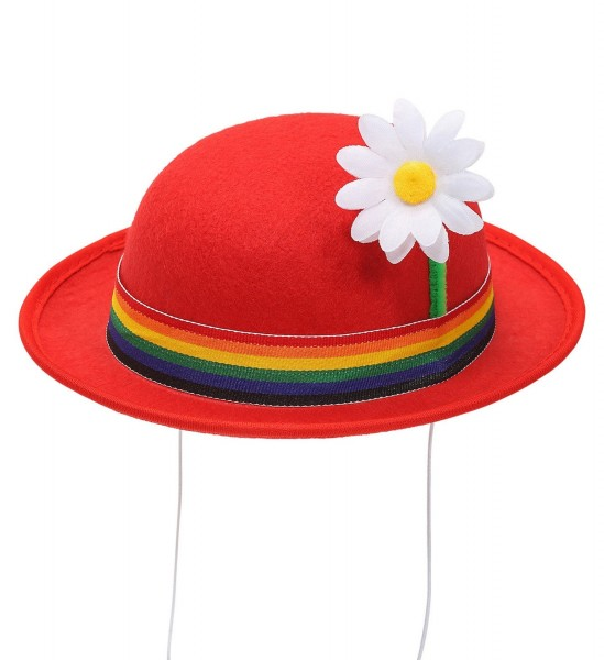 Red clown melon hat with flower