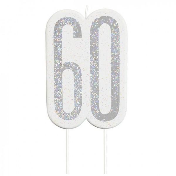 Vela de pastel plateada de 60 cumpleaños