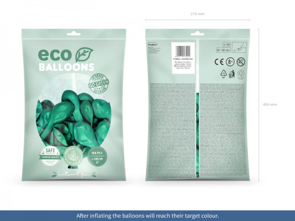 100 Eco metallic balloons jade green 30cm