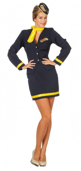 Sexy Stewardess Damenkostüm Blau