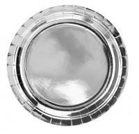 6 Silber metallic Pappteller 23cm