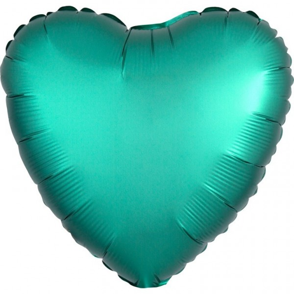 Shiny green heart balloon 43cm