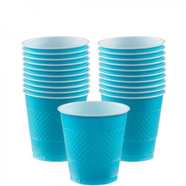 20 bicchieri di plastica blu turchese 266 ml