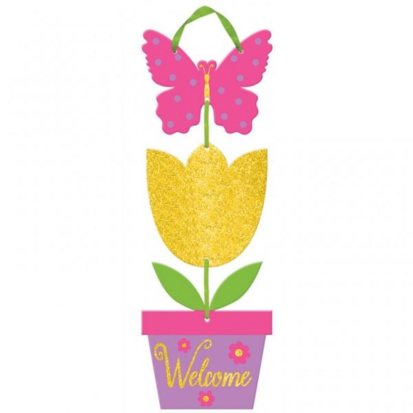 Glitzer Spring Welcome Schild