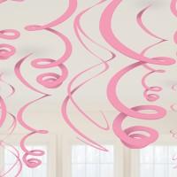 12 Elegante Deko-Spiralen Rosa 55,8cm