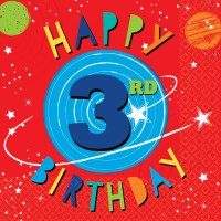 16 Space Party 3rd Birthday Servietten 33cm
