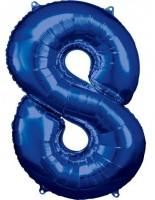 Folienballon Zahl 8 blau 86cm