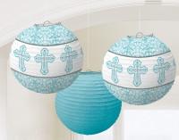 3 Lampions Heilige Kommunion Blau 24cm