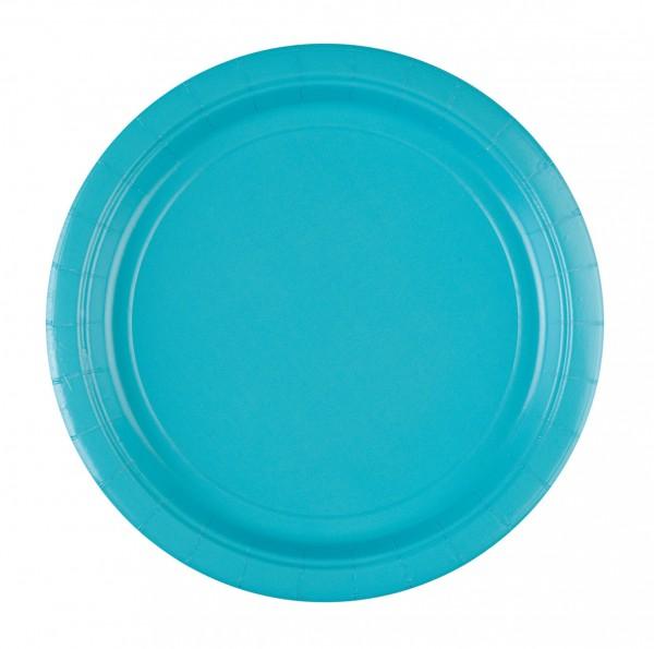 8 assiettes en papier bleu azur 22,8 cm